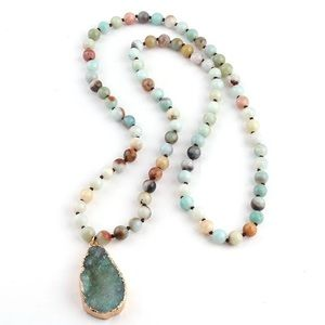 Handmade druzy necklace amazonite bead boho hippie